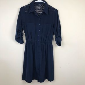 BCX Shirt Dress Navy Blue with Lace Detail Sz S